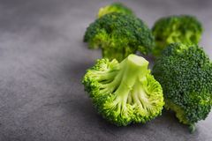 Fresh raw green broccoli. On a table. Diet healthy product Stock Photo