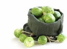 Fresh raw  green brussel sprouts Stock Photo