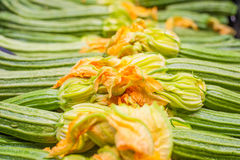 Fresh raw green courgettes with flowers  selective focus Stock Photo