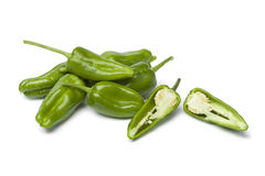 Fresh raw green Pimientos de Padron Stock Images