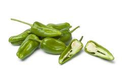 Fresh raw green Pimientos de Padron Stock Images