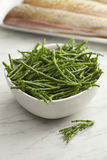 Fresh raw green samphire. In a bowl with fresh fish in the background Royalty Free Stock Photos