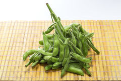 Fresh raw green soy bean on bamboo tray background. Deliciously Royalty Free Stock Images