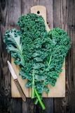 Fresh raw green superfood kale curly cabbage leaves. On wooden background Stock Photos