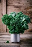 Fresh raw green superfood kale curly cabbage leaves. On wooden background Royalty Free Stock Photography