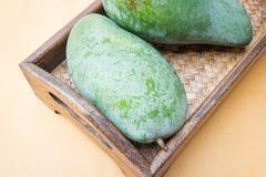 Fresh raw green sweet mango Stock Photos