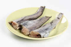 Fresh raw hake fish on the green plate above white background.  Stock Image