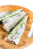 Fresh raw hake fish with rosemary branches on the round wooden board.  Stock Image