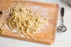 Fresh raw homemade pasta fettuccine Royalty Free Stock Images