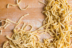 Fresh raw homemade pasta fettuccine. Selective focus Royalty Free Stock Image