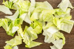 Fresh raw Iceberg Lettuce on brown wood. Iceberg lettuce fresh torn salad leaves table top isolated on brown wood background Royalty Free Stock Photo