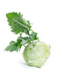 Fresh raw kohlrabi. On a white background Royalty Free Stock Images