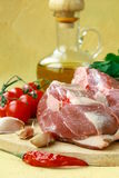 Fresh raw lamb with olive oil with parsley Stock Photos