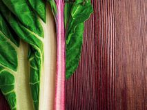 Fresh raw leaves of chard, leaf beets, mangold, swiss chard on a wooden table, copy space. Cellulose rich food royalty free stock photo