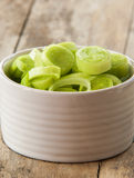 Fresh raw leek slice in a bowl. In wooden background Royalty Free Stock Photography