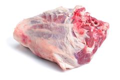 Fresh  raw leg lamb. On a white background Royalty Free Stock Images