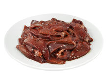 Fresh and raw liver. On white background Stock Images