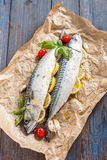 Fresh raw mackerel with lemon, tomatoes and spices on parchment. Preparing to bake. Fresh raw mackerel with lemon, garlic and tomatoes, prepared for baking in Royalty Free Stock Image