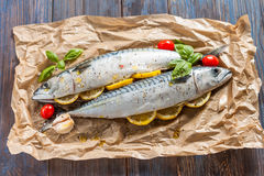 Fresh raw mackerel with lemon, tomatoes and spices on parchment. Preparing to bake. Fresh raw mackerel with lemon, garlic and tomatoes, prepared for baking in Royalty Free Stock Images