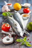 Fresh raw mackerel with lemon, tomatoes and spices on parchment. Preparing to bake. Fresh raw mackerel with lemon, garlic and tomatoes, prepared for roasting Stock Images