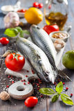Fresh raw mackerel with lemon, tomatoes and spices on parchment. Preparing to bake. Fresh raw mackerel with lemon, garlic and tomatoes, prepared for roasting Royalty Free Stock Photo