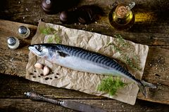 Fresh raw mackerel on an old wooden background. Tasty food Royalty Free Stock Image