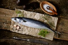Fresh raw mackerel on an old wooden background. Tasty food Royalty Free Stock Photo