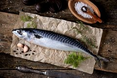 Fresh raw mackerel on an old wooden background. Tasty food Royalty Free Stock Photos
