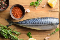 Fresh raw mackerel. On wooden background, top view Stock Photography