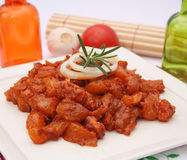 Fresh raw marinated pork. On a plate Royalty Free Stock Images