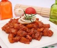 Fresh raw marinated pork Royalty Free Stock Images