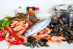 Fresh raw marine products. In  kitchen Royalty Free Stock Images
