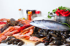 Fresh raw marine products and  spices. At home kitchen Royalty Free Stock Photo