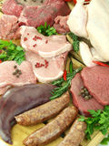 Fresh raw meat. In a butcher shop Stock Image
