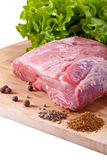 Fresh raw meat. And spices Royalty Free Stock Photos