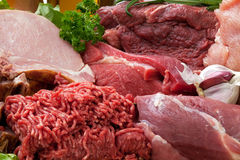 Fresh Raw Meat Background. With Smoked Pork Chops, Beef Meat, Turkey and ground beef Stock Image