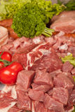 Fresh Raw Meat Background with Beef Meat, Turkey and ground beef.  Stock Images