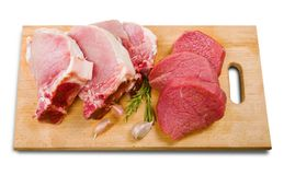 Fresh Raw Meat on Background. Fresh meat raw group objects background market Stock Photo