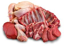 Fresh Raw Meat on Background. Fresh meat raw group objects background market Royalty Free Stock Image