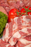 Fresh Raw Meat Background with pork edges; Beef Meat, Turkey and Royalty Free Stock Photography