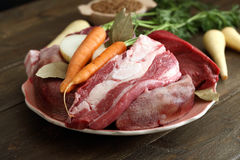 Fresh Raw Meat Background. Fresh Raw Meat on rustic table Background Royalty Free Stock Image