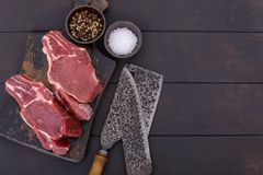 Fresh and raw meat. Beef ready to cook top view with copy space Royalty Free Stock Photography