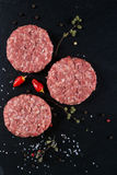 Fresh raw meat burger cutlet on the black slate board with herbs and spices for background. Copy space, top view Royalty Free Stock Images