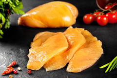 Fresh and raw meat. Chicken breast fillets cut ready for cooking Royalty Free Stock Photos