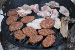 Fresh raw meat and chicken wings are grilling on a barbecue Stock Photography