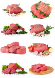Fresh raw meat collection. Over the white Stock Photo