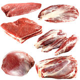 Fresh raw meat collection. On white background Royalty Free Stock Images