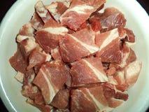 Fresh raw meat cut into pieces. Fresh raw pork meat cut into pieces stock photo