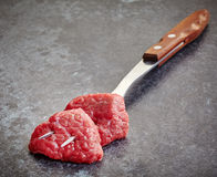 Fresh raw meat cuts. On dark background Stock Image