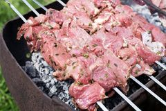 Fresh raw meat fillet shish kebab. Raw meat on the grill. Preparation of shish kebabs Royalty Free Stock Photography